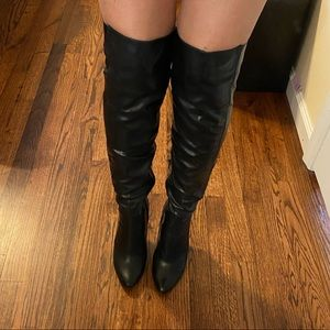 Over the knee black leather boots (Aldo)